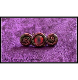 Red & Black Tones Abstract Tentacle Brooch With Red And Black Glass Eye