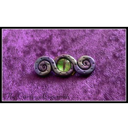 Purple Tones Abstract Tentacle Brooch With Green Glass Eye