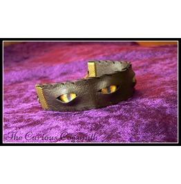 Faux Leather & Eyes Cuff Bracelet (Yellow Eyes)