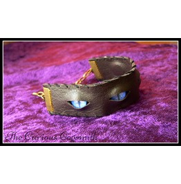 Faux Leather & Eyes Cuff Bracelet (Blue Eyes)