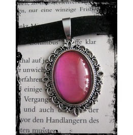 Necklace (Velvet), Pink Stone