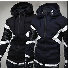 Men's Contrast Color Faux Leather Long Sleeved Hoodies