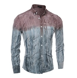 Men's Casual Tie Dyed Long Sleeved Slim Shirt M7