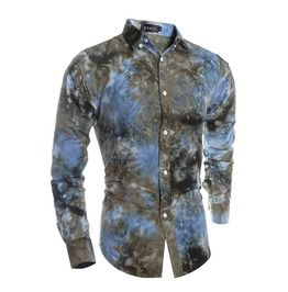 Men's Casual Tie Dyed Long Sleeved Slim Shirt M3
