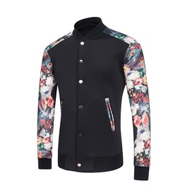 Men's Floral Printed Cotton Casual Baseball Jacket