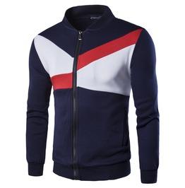 Men's British Contrast Color Standup Jacket