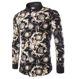 Men's Korean Floral Printed Long Sleeved Shirt