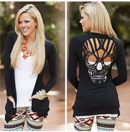 Hollow Out Skull Pattern T Shirt For Women Blouse Stylish Long Sleeve Top
