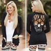 Hollow out skull pattern t shirt for women blouse stylish long sleeve top  t shirts 3