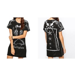 2016 Punk Style Skull Print Black Women Dresses