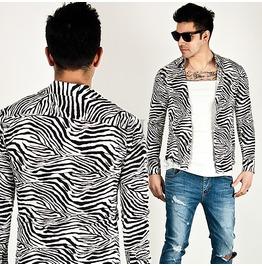 Zebra Pattern Accent Silky Slim Shirts 113