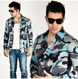 Camouflage Pattern Accent Silky Slim Shirts 112