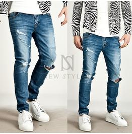 Vintage Ripped Blue Slim Denim Jeans 192