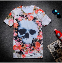 On Sale Punk Floral Skull Print Women/Men T Shirt