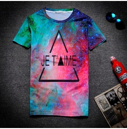 On Sale Harajuku Style Galaxy Triangle Print Women/Men T Shirt