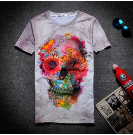 On Sale Punk Rock Floral Skull Print Women/Men T Shirt