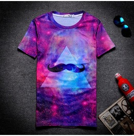 On Sale Street Fashion Casual Galaxy Mustache Print Women/Men T Shirt