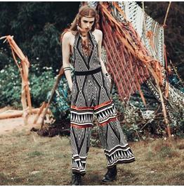 2016 Original Design Ethnic Style Geometric Pattern Women Wide Leg Jumpsuit