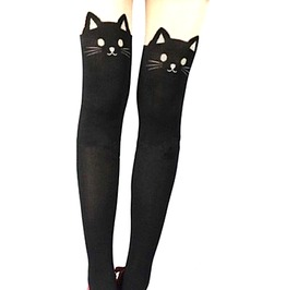 Eye Catching Black Cat Tights With Tails At The Back