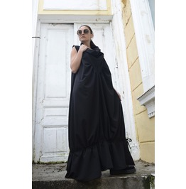 New!Black Maxi Dress/Sleeveless Loose Kaftan/Plus Size Black Dress