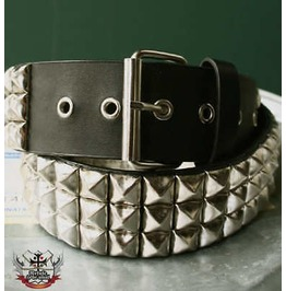 Hellcatpunks 3 Row Silver Metal Stud Leather Like Belt