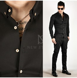 Gold Button Accent Slim Shirts 115