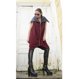 New!Burgundy Sleeveless Loose Jacket/Large Collar Tunic Top/Oversize Zipper