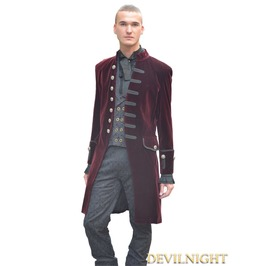Wine Red Alternative Gothic Coat For Men