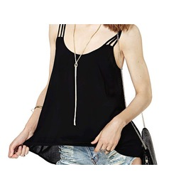 Women's Black Spaghetti Strap Causal Blouse Top Shirt Cami Tee Tank Tee