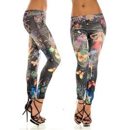 2016 Fashion Tattoo Print Faux Denim Women Black Leggings