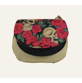 Kathryn Satchel In Skulls And Roses Red, Essex Linen And Cork
