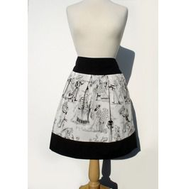 """Riding Shotgun"" Black And White Day Of The Dead Skirt"