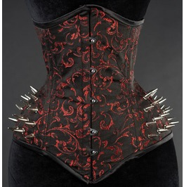 Steel Boned Red Extreme Waist Spike Goth Burlesque Fetish Underbust Corset