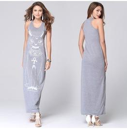 Cat Printed Grey Long Vest Dress