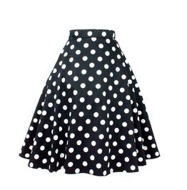 Black White Polka Dot Full Circle Skirt