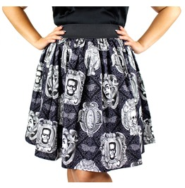 """Lindy"" Monster Portrait Pleated Skirt"
