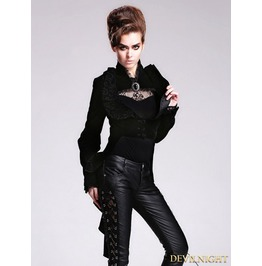Black Velvet Vintage Gothic Swallowtail Jacket For Women