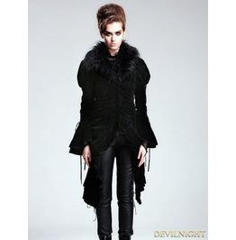 Black Vintage Velvet Gothic Jacket With Detachable Fur Collar