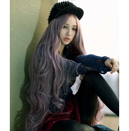 X X Lavender Cookie Xx Long Curled Wave Scene Wig Kankelon Synthetic