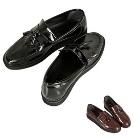 Glossy Layered Upper Tassel Loafer, Shoes 209