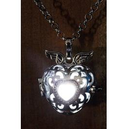 Winged White Heart Glowing Orb Pendant Necklace Locket Black Gun Metal