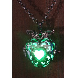 Winged Green Heart Glowing Orb Pendant Necklace Locket Black Gun Metal