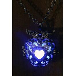 Winged Blue Heart Glowing Orb Pendant Necklace Locket Black Gun Metal