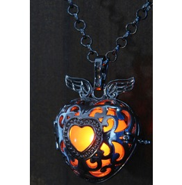 Black Winged Heart Pendant Orange Glowing Necklace Locket
