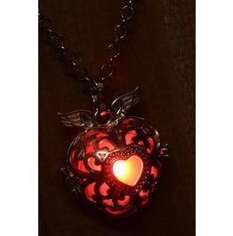 Winged Red Heart Glowing Orb Pendant Necklace Locket Black Gun Metal