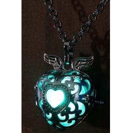 Winged Teal Heart Glowing Orb Pendant Necklace Locket Black Gun Metal