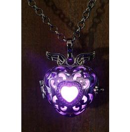 Winged Purple Heart Glowing Orb Pendant Necklace Locket Black Gun Metal