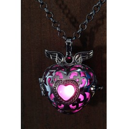 Winged Pink Heart Glowing Orb Pendant Necklace Locket Black Gun Metal