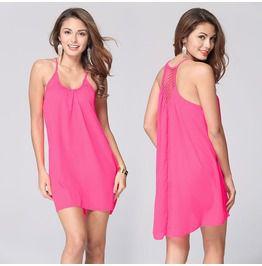 Mesh Backless Summer Slip Dress Beach Dress Pink/Orange/Green