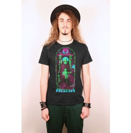 Church Windows Vitral With Neon Fluo Saint Mary And Jesus Black Tshirt